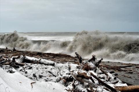 Storm surge crashing onto Shaktoolik beach
