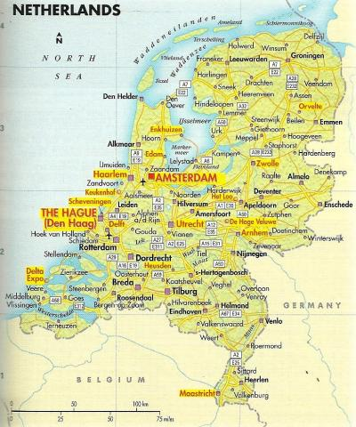 "Orientation map for trips to the Netherlands between 1983 and 2004. From the ""Europe Travel Book"", published by the AAA, 2005 Edition."