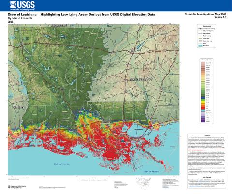Map showing Louisiana land susceptible to sea level rise