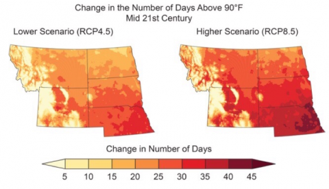 Projected great plains warming due to anthropogenic climate change