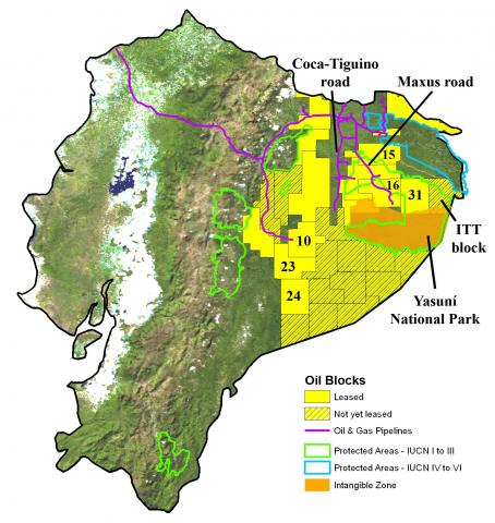 Map overlain with ITT oil blocks, Yasuni National Park boundaries, and the Intangible Zone