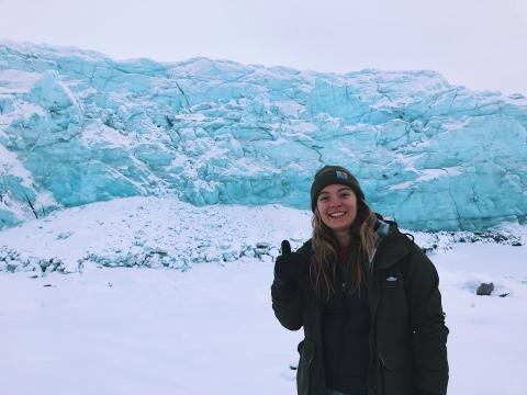 Annika in Greenland in front of Russel Glacier